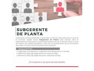 Subgerente de Planta (V región )