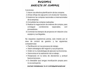 ANALISTA DE COMPRAS INGENIERO COMERCIAL