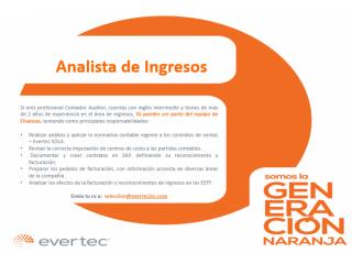 Analista de Ingresos