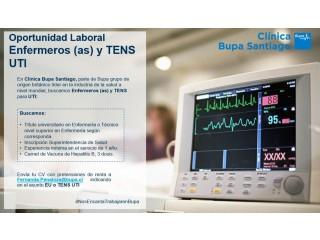 Enfermeros(as) y TENS para las unidades UCI y UTI